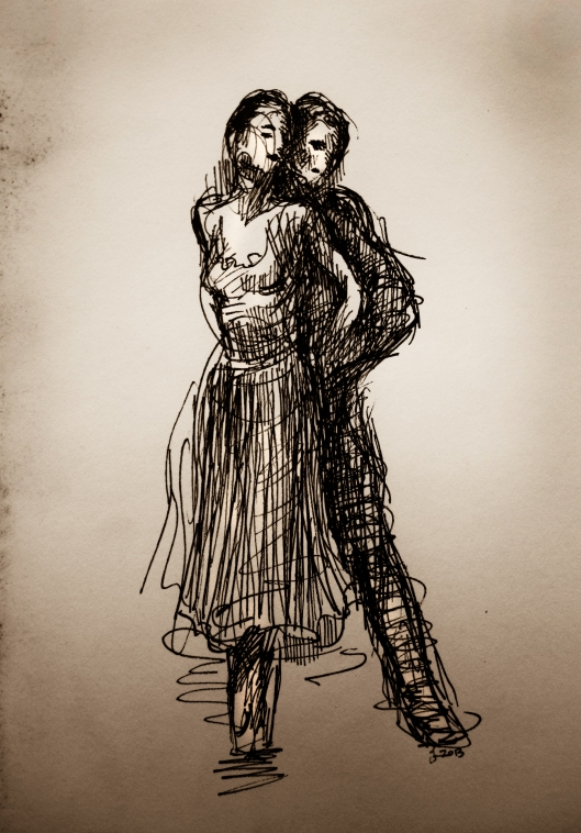 West Side Dancers, ink on paper, Jessica Libor 2013