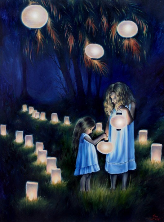 """Paper Lanterns, oil on canvas, 2010, 30""""x40"""" SOLD"""