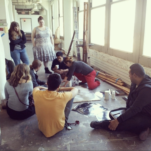 In the gang studio--PAFA students helping each other