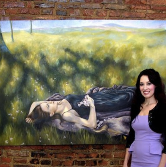 "With my piece ""Daydreaming"" at the Bazemore Gallery, October 2014"